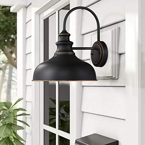 Zeyu Farmhouse Barn Light Fixture Gooseneck Wall Sconce 2 Pack In Rubbed Oil Bronze Finish 02A390 2 ROB 0 1