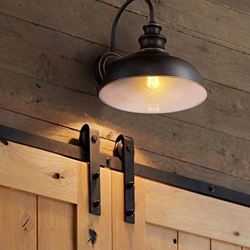 Zeyu Farmhouse Barn Light Fixture Gooseneck Wall Sconce 2 Pack In Rubbed Oil Bronze Finish 02A390 2 ROB 0 2