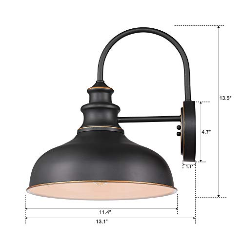 Zeyu Farmhouse Barn Light Fixture Gooseneck Wall Sconce 2 Pack In Rubbed Oil Bronze Finish 02A390 2 ROB 0 5