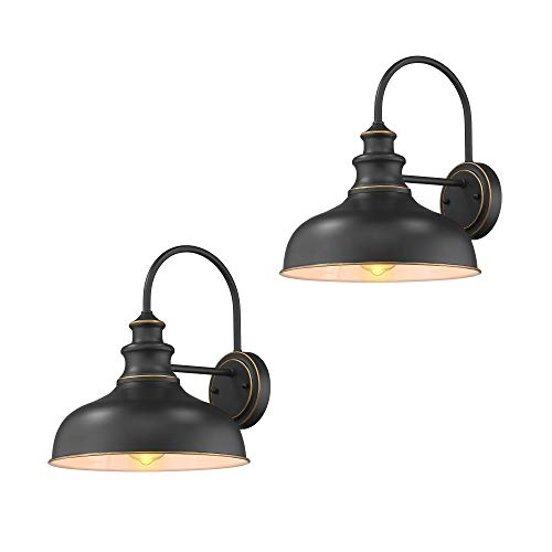 Zeyu Farmhouse Barn Light Fixture Gooseneck Wall Sconce 2 Pack In Rubbed Oil Bronze Finish 02A390 2 ROB 0