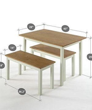 Zinus Becky Farmhouse Dining Table With Two Benches 3 Piece Set 0 0 300x360