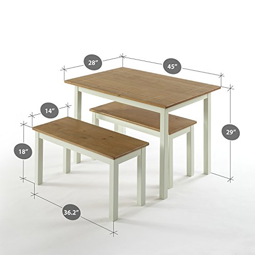 Zinus Becky Farmhouse Dining Table With Two Benches 3 Piece Set 0 0