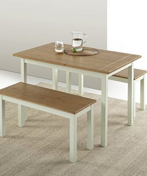 Zinus Becky Farmhouse Dining Table With Two Benches 3 Piece Set 0 3 300x360