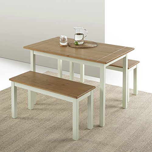 Zinus Becky Farmhouse Dining Table With Two Benches 3 Piece Set 0 3