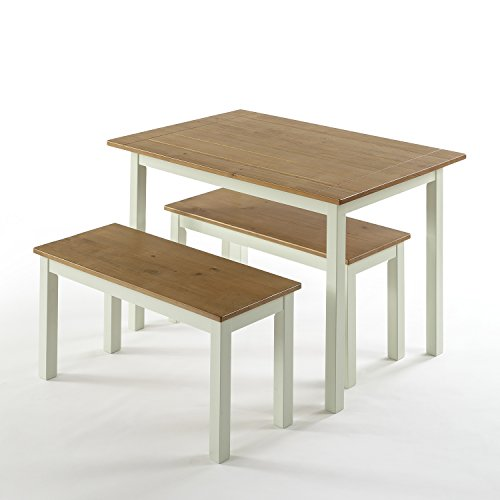 Zinus Becky Farmhouse Dining Table With Two Benches 3 Piece Set 0