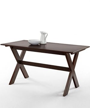 Zinus William Trestle Large Wood Dining Table Espresso 0 300x360