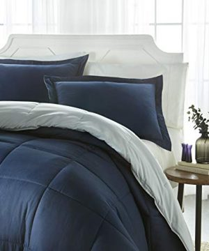 IEnjoy Home Collection Down Alternative Reversible Comforter Set Twin NavyLight Gray 0 300x360