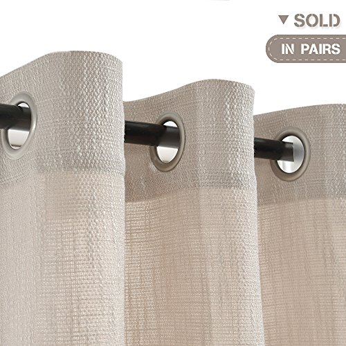Jinchan Burlap Linen Curtains For Living Room 63 Inch Length Curtain Panels For Bedroom Set Of Two 52 W X 95 L Ivory 0 0