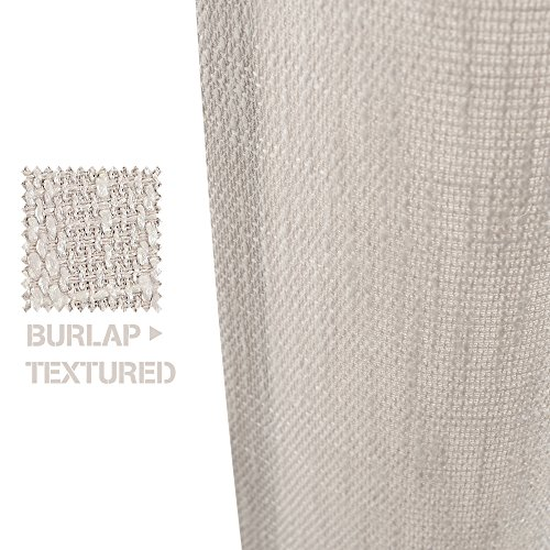 Jinchan Burlap Linen Curtains For Living Room 63 Inch Length Curtain Panels For Bedroom Set Of Two 52 W X 95 L Ivory 0 1