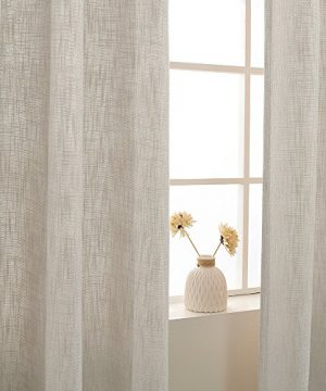 Jinchan Burlap Linen Curtains For Living Room 63 Inch Length Curtain Panels For Bedroom Set Of Two 52 W X 95 L Ivory 0 3 300x360