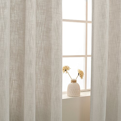 Jinchan Burlap Linen Curtains For Living Room 63 Inch Length Curtain Panels For Bedroom Set Of Two 52 W X 95 L Ivory 0 3