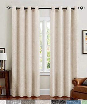 Jinchan Burlap Linen Curtains For Living Room 63 Inch Length Curtain Panels For Bedroom Set Of Two 52 W X 95 L Ivory 0 300x360