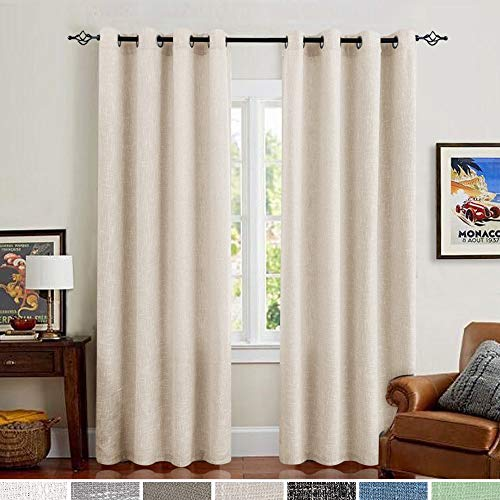 Jinchan Burlap Linen Curtains For Living Room 63 Inch Length Curtain Panels For Bedroom Set Of Two 52 W X 95 L Ivory 0