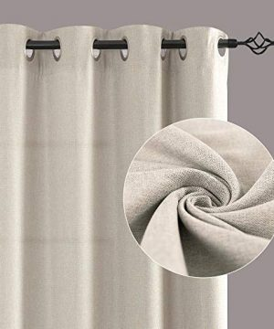 Jinchan Curtains For Bedroom Linen Textured Room Darkening Drapes 84 Inch Long Living Room Curtain In Greyish Beige One Panel 0 0 300x360