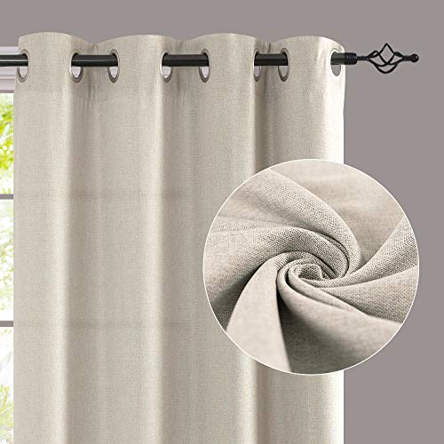 Jinchan Curtains For Bedroom Linen Textured Room Darkening Drapes 84 Inch Long Living Room Curtain In Greyish Beige One Panel 0 0