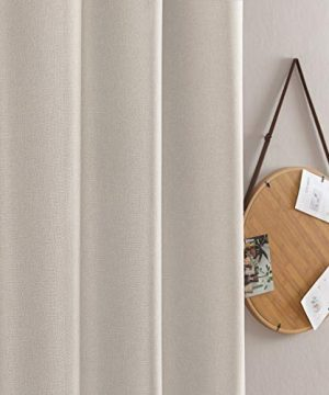 Jinchan Curtains For Bedroom Linen Textured Room Darkening Drapes 84 Inch Long Living Room Curtain In Greyish Beige One Panel 0 1 300x360