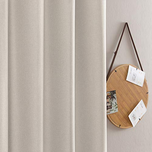 Jinchan Curtains For Bedroom Linen Textured Room Darkening Drapes 84 Inch Long Living Room Curtain In Greyish Beige One Panel 0 1