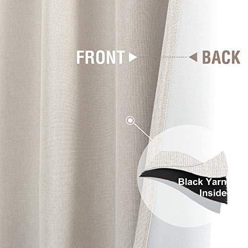 Jinchan Curtains For Bedroom Linen Textured Room Darkening Drapes 84 Inch Long Living Room Curtain In Greyish Beige One Panel 0 2