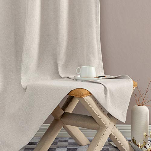 Jinchan Curtains For Bedroom Linen Textured Room Darkening Drapes 84 Inch Long Living Room Curtain In Greyish Beige One Panel 0 3