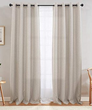 Jinchan Curtains For Bedroom Linen Textured Room Darkening Drapes 84 Inch Long Living Room Curtain In Greyish Beige One Panel 0 300x360