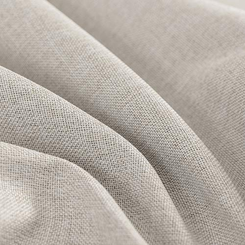 Jinchan Curtains For Bedroom Linen Textured Room Darkening Drapes 84 Inch Long Living Room Curtain In Greyish Beige One Panel 0 4
