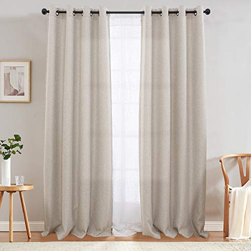 Jinchan Curtains For Bedroom Linen Textured Room Darkening Drapes 84 Inch Long Living Room Curtain In Greyish Beige One Panel 0