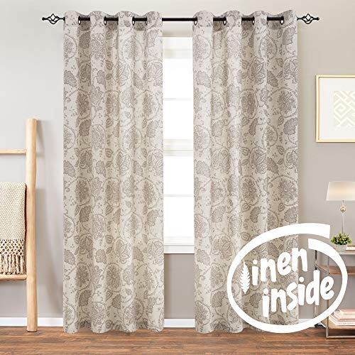 Jinchan Floral Scroll Printed Linen Curtains Grommet Top Ikat Flax Textured Medallion Design Jacobean Curtains Retro Living Room Curtain Sets Taupe 50 X 84 2 Panels 0 0