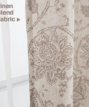 Jinchan Floral Scroll Printed Linen Curtains Grommet Top Ikat Flax Textured Medallion Design Jacobean Curtains Retro Living Room Curtain Sets Taupe 50 X 84 2 Panels 0 1 300x360