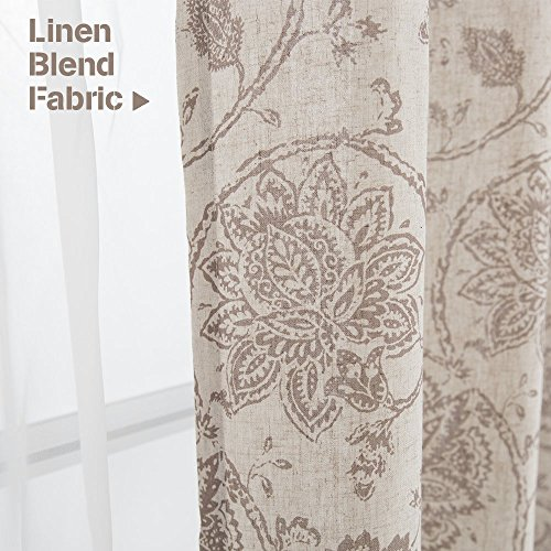 Jinchan Floral Scroll Printed Linen Curtains Grommet Top Ikat Flax Textured Medallion Design Jacobean Curtains Retro Living Room Curtain Sets Taupe 50 X 84 2 Panels 0 1