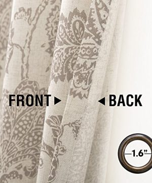 Jinchan Floral Scroll Printed Linen Curtains Grommet Top Ikat Flax Textured Medallion Design Jacobean Curtains Retro Living Room Curtain Sets Taupe 50 X 84 2 Panels 0 2 300x360