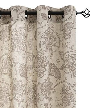 Jinchan Floral Scroll Printed Linen Curtains Grommet Top Ikat Flax Textured Medallion Design Jacobean Curtains Retro Living Room Curtain Sets Taupe 50 X 84 2 Panels 0 300x360