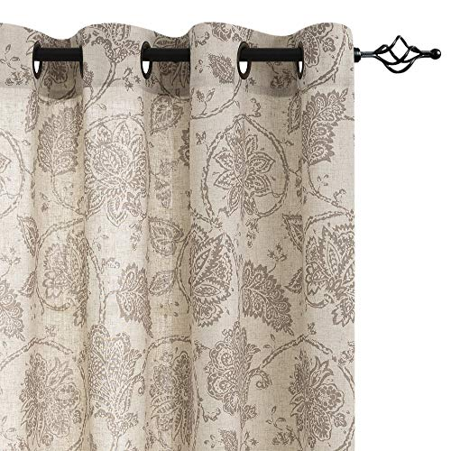 Jinchan Floral Scroll Printed Linen Curtains Grommet Top Ikat Flax Textured Medallion Design Jacobean Curtains Retro Living Room Curtain Sets Taupe 50 X 84 2 Panels 0