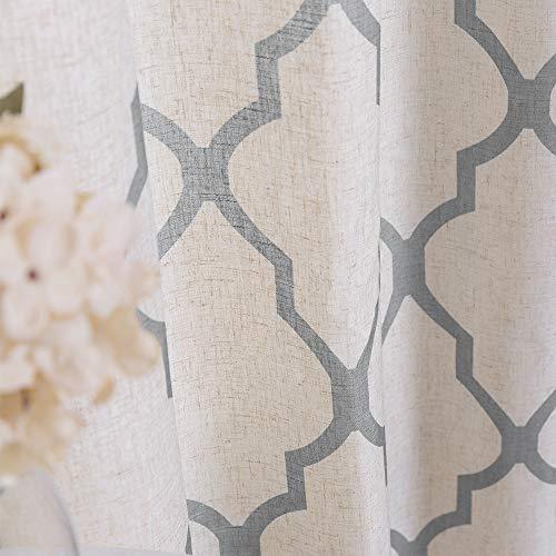 Jinchan Moroccan Tile Print Curtains For Living Room Quatrefoil Flax Linen Blend Textured Geometry Lattice Grommet Window Treatment Set For Bedroom 50 W X 84 L 2 Panels Grey 0 1