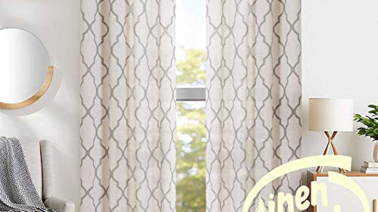 Jinchan Moroccan Tile Print Curtains For Living Room Quatrefoil Flax Linen Blend Textured Geometry Lattice Grommet Farmhouse Goals