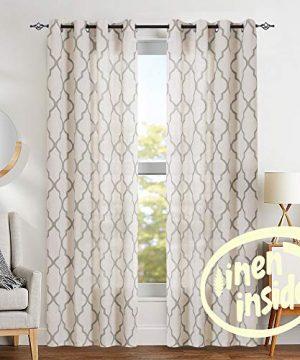 Jinchan Moroccan Tile Print Curtains For Living Room Quatrefoil Flax Linen Blend Textured Geometry Lattice Grommet Window Treatment Set For Bedroom 50 W X 84 L 2 Panels Grey 0 300x360