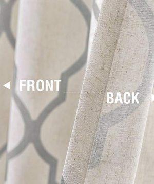 Jinchan Moroccan Tile Print Curtains For Living Room Quatrefoil Flax Linen Blend Textured Geometry Lattice Grommet Window Treatment Set For Bedroom 50 W X 84 L 2 Panels Grey 0 4 300x360
