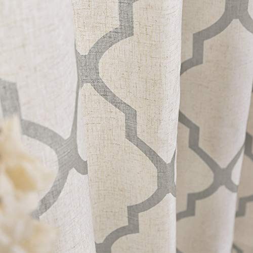 Jinchan Moroccan Tile Print Curtains For Living Room Quatrefoil Flax Linen Blend Textured Geometry Lattice Grommet Window Treatment Set For Bedroom 50 W X 84 L 2 Panels Grey 0 5