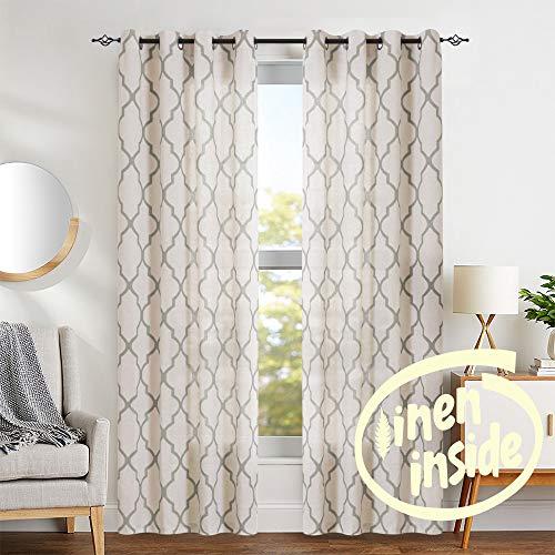Jinchan Moroccan Tile Print Curtains For Living Room Quatrefoil Flax Linen Blend Textured Geometry Lattice Grommet Window Treatment Set For Bedroom 50 W X 84 L 2 Panels Grey 0