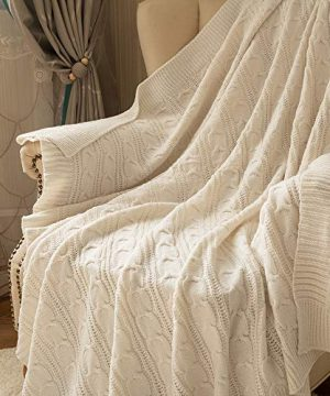 Jinchan Throw Blanket Ivory Lightweight Cable Knit Sweater Style Year Round Gift Indoor Outdoor Travel Accent Throw For Sofa Comforter Couch Bed Recliner Living Room Bedroom Decor 50 X 60 0 0 300x360