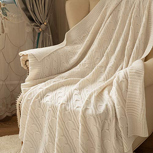 Jinchan Throw Blanket Ivory Lightweight Cable Knit Sweater Style Year Round Gift Indoor Outdoor Travel Accent Throw For Sofa Comforter Couch Bed Recliner Living Room Bedroom Decor 50 X 60 0 0