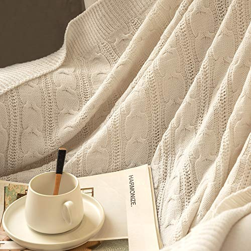 Jinchan Throw Blanket Ivory Lightweight Cable Knit Sweater Style Year Round Gift Indoor Outdoor Travel Accent Throw For Sofa Comforter Couch Bed Recliner Living Room Bedroom Decor 50 X 60 0 1