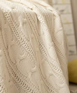 Jinchan Throw Blanket Ivory Lightweight Cable Knit Sweater Style Year Round Gift Indoor Outdoor Travel Accent Throw For Sofa Comforter Couch Bed Recliner Living Room Bedroom Decor 50 X 60 0 2 300x360
