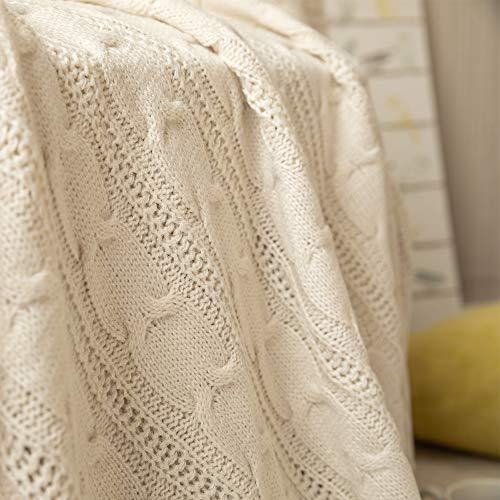 Jinchan Throw Blanket Ivory Lightweight Cable Knit Sweater Style Year Round Gift Indoor Outdoor Travel Accent Throw For Sofa Comforter Couch Bed Recliner Living Room Bedroom Decor 50 X 60 0 2