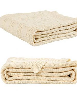 Jinchan Throw Blanket Ivory Lightweight Cable Knit Sweater Style Year Round Gift Indoor Outdoor Travel Accent Throw For Sofa Comforter Couch Bed Recliner Living Room Bedroom Decor 50 X 60 0 3 300x360
