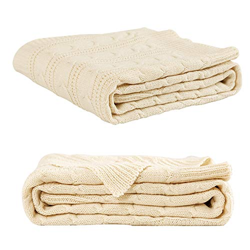 Jinchan Throw Blanket Ivory Lightweight Cable Knit Sweater Style Year Round Gift Indoor Outdoor Travel Accent Throw For Sofa Comforter Couch Bed Recliner Living Room Bedroom Decor 50 X 60 0 3