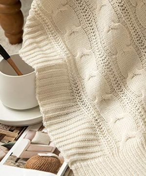 Jinchan Throw Blanket Ivory Lightweight Cable Knit Sweater Style Year Round Gift Indoor Outdoor Travel Accent Throw For Sofa Comforter Couch Bed Recliner Living Room Bedroom Decor 50 X 60 0 4 300x360