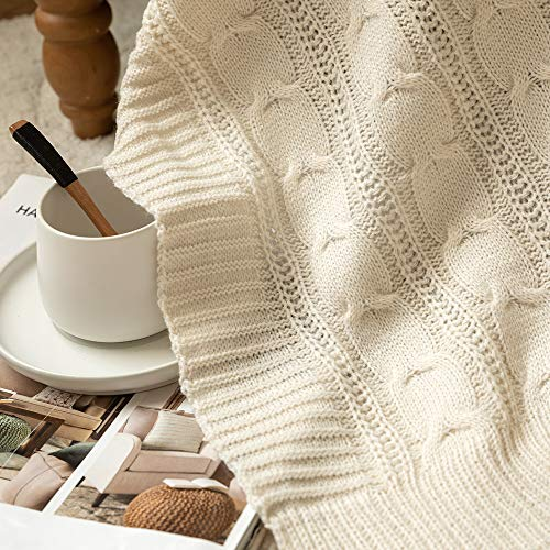 Jinchan Throw Blanket Ivory Lightweight Cable Knit Sweater Style Year Round Gift Indoor Outdoor Travel Accent Throw For Sofa Comforter Couch Bed Recliner Living Room Bedroom Decor 50 X 60 0 4