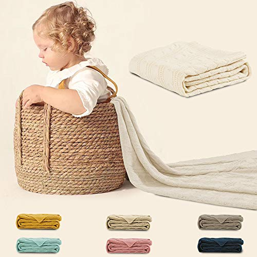 Jinchan Throw Blanket Ivory Lightweight Cable Knit Sweater Style Year Round Gift Indoor Outdoor Travel Accent Throw For Sofa Comforter Couch Bed Recliner Living Room Bedroom Decor 50 X 60 0 5