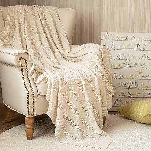 Jinchan Throw Blanket Ivory Lightweight Cable Knit Sweater Style Year Round Gift Indoor Outdoor Travel Accent Throw For Sofa Comforter Couch Bed Recliner Living Room Bedroom Decor 50 X 60 0