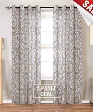 Jinchan Vintage Linen Curtains For Living Room With Medallion Damask Printed Drapes For Bedroom Medallion Curtain Sets For Windows Patio Door 2 Panels 84 Inch Blue 0 0 300x360